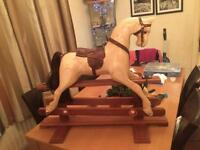 New hand carved small rocking horse