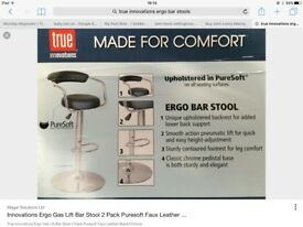 Brand new boxed set of 2 black/ chrome bar stools retail £199