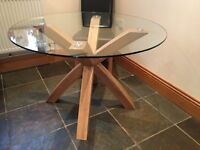 Glass dining table sears 4-5 with solid wood legs