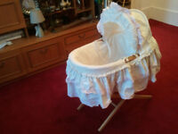 MOSES BASKET WITH HOOD AND STAND,, MOTHERCARE