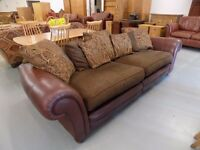 Big Brown Leather & Fabric DFS Perez 3-4 Seater Sofa
