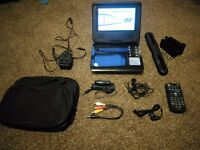 "7"" Portable dvd player. Complete with all accessories in case."