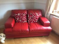 DFS red leather suite for sale, includes a three seater, a two seater plus matching pouffe