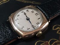Vintage 9k 9ct 375 solid Rose gold cushion watch