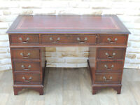 3 Part Leather Top Desk Vintage style (Delivery)