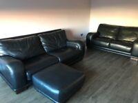 DFS Black Leather 3 + 2 sofas