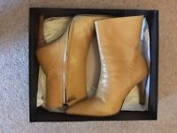 Gucci, camel leather, heeled ankle boots