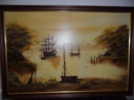 Oil Painting By DC Hinge Galleon Sail Ship In The Harbour ( Original )