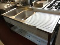 Sink 1.6m double bowl RIGHT DRAINER