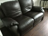 Leather double recliner sofa and recliner chair