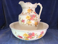 Victorian Staffordshire China Jug & Bowl c.1890 [3711]