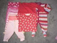 Baby girls leggings tops and sleepsuit bundle 3-6 months