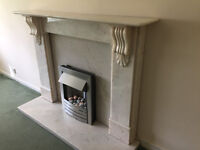 Marble Fireplace & Electric fire