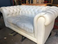GONE PENDING COLLECTION Free White Leather Chesterfield Sofa