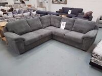 Brand New Grey Cord Corner Sofa. Free Delivery Up To 20 Miles. In Stock. RRP £699, £100 Off Sale.