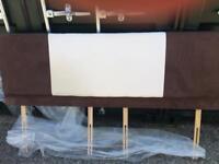 Super king size brown and cream velour head board
