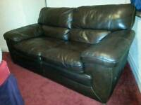 Two seater real leather sofa