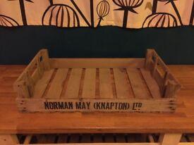 10 Vintage Wooden Apple Crates NORMAN MAY (KNAPTON) LTD - Boxes Trays Retro Wood Bulbs