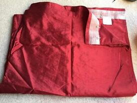 Ikea silk curtains red