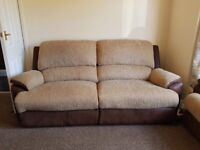 Two piece reclining sofa suite in two tone brown
