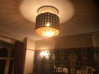 Large black/brass drum light shade