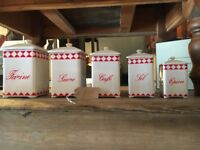 CANNISTERS CONTAINERS VINTAGE FRENCH CERAMIC TEA CADDY JARS SET CHINA WHITE