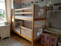 Bunk bed with hearts