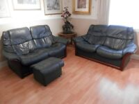 2 x STRESSLESS SETTEES + FOOTSTOOL