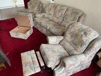G Plan Sofa & 2 arm chairs & storage box