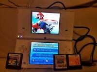 white Nintendo dsi console with usb charger Mario Kart , Pokemon & Namco Museum