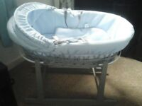 clair de lune moses basket excellent condition blue and grey wicker with rocking stand