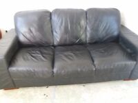 Free Black leather 3 seater settee