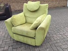 Pistachio green swivel recliner DFS chair