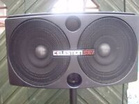 CELESTION SR1 Mk 2 (FULL RANGE; 2x 350watts at 4 ohms) P.A SPEAKERS with STANDS & CABLES.