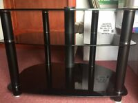 Alphason black TV stand with cable tidy, mint condition with no scratches or scrapes