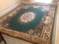 Extra Large Modern Persian Rug Size 310cm x 230cm Mainly Green in Colour. Quality Well Made Rug VGC