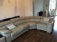 Leather corner sofa with adjustable headrests grey/beige