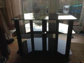 Smoked black glass TV stand