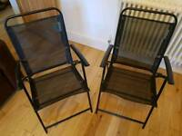 Pair of fold up metal garden chairs
