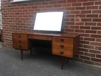 Vintage TEAK dressing table 1970 with mirror DRAWERS mid century