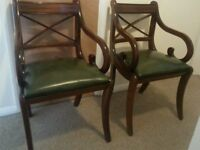 2 x dark wood real leather chairs