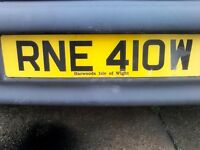 Cherished number plate RNE 4 10W (royal navy engineers isle of Wight Rene