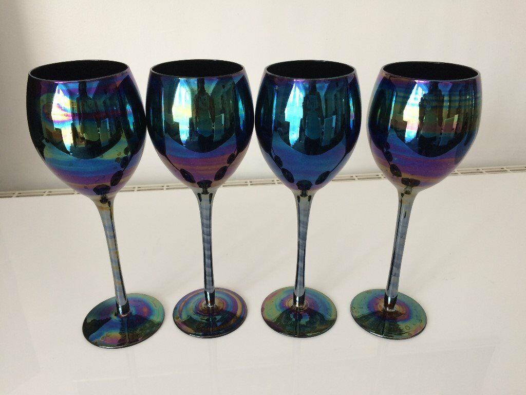 Metallic Wine Glasses : Dwell shimmer wine glasses set of or rainbow