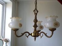 solid brass ceiling pendant + 3 matching wall lights