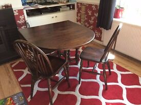 Dining Table & Chairs - Oak Drop Leaf Dining Table and 4 Chairs