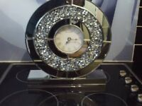 Mirror Crushed Crystals Clock