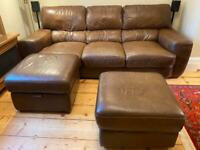 Leather 4 Seater Sofa, with accompany matching 2 Arm Chairs and 2 Footstools with Storage