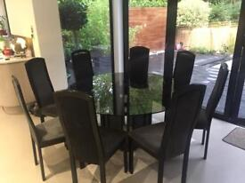 Eight seater round dining table