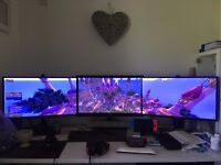 """3x27"""" monitors for sale (for that 3 screen experience) + Monitor stands"""