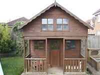 Shire – Wooden Lodge Playhouse with verandah from B&Q - excellent childrens playhouse lot's of fun